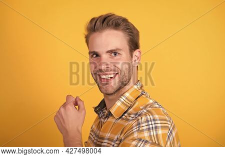 Adding Care To Your Hair. Happy Man Man Smile With Stylish Haircut Yellow Background. Trendy Short H