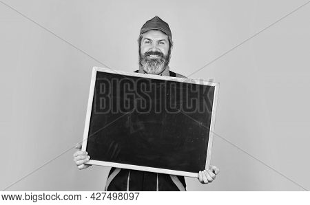 Architect Worker Hold Blackboard. Conference Meeting. Person Presenting At Chalkboard. Businessman.