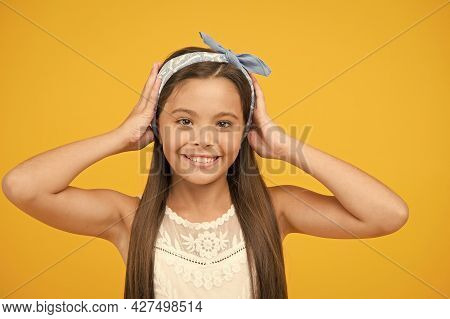 Beauty Is All About Her. Happy Girl Yellow Background. Beauty Look Of Small Fashion Model. Fashion A