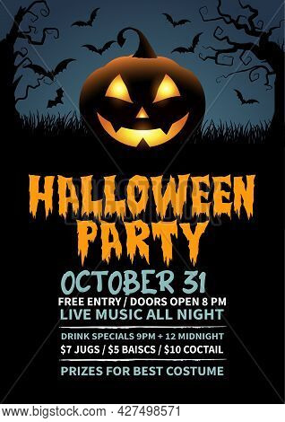 Creative And Scary Halloween Party Poster Flyer Design