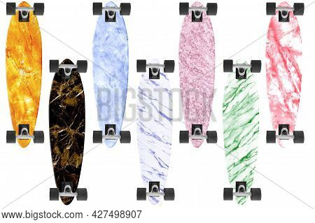 Collection Of Seven Longboard With Different Marble Textures Isolated