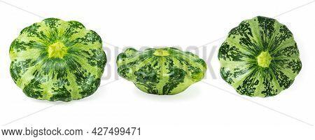 Green Pattypan Squash Isolated On White Background, Set.