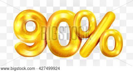 90 Percent Off. Discount Creative Composition Of Golden Balloons. 3d Mega Sale Or Ninety Percent Bon
