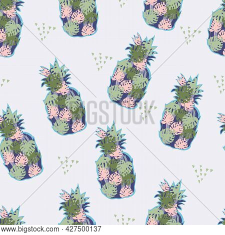Seamless Pattern With Tropical Pineapples, Vector Illustration. Summer Exotic Pineapples Fruit Decor