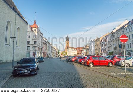 Gorlitz, Germany - June 2, 2021: Upper Market Square. Largest Square In The Historic Part Of The Tow