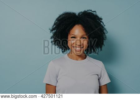 Beautiful Smiling African American Woman With Curly Black Hair And Beaming Smile, Showing White Teet