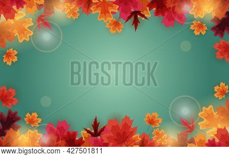 Autumn Natural Background Template With Falling Leaves.