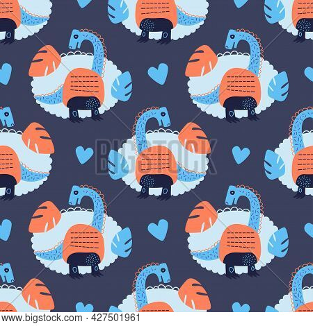 Vector Illustration Of Seamless Pattern With Dinosaur. Orange With Blue Dino On A Dark Blue Backgrou
