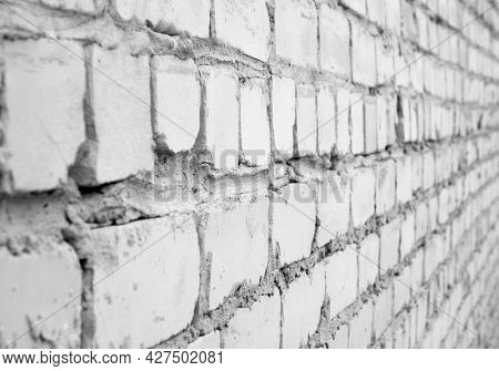 Brickwork. Black and white image