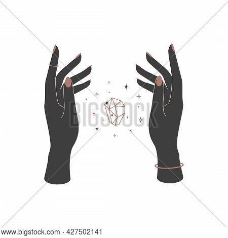Mystical Shining Crystal Between Woman Hands. Spiritual Elegant Symbol For Branding Name Logo. Esote