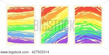 Rainbow Pride Background. Gay Pride Posters. Rainbow Vector Illustration For Happy Pride Day And Lgb