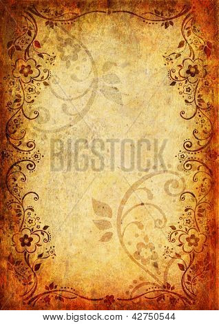 Vintage Background With Flower And Leaf