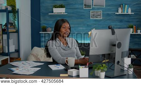 Student Talking With Professor Studying Math Lesson During Online Videocall Meeting Conference Using