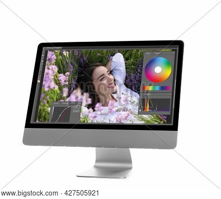 Computer With Photo Editor Application Isolated On White