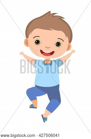 Child Funny. Little Boy. In Fashionable Clothes. Kid Jumps For Joy. Charming Active Cute Character.