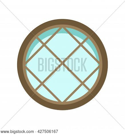 Window Is Round. Simple And Flat Style. Blue Glass. Day. Cartoon Cute Fairy Tale Design. Isolated On