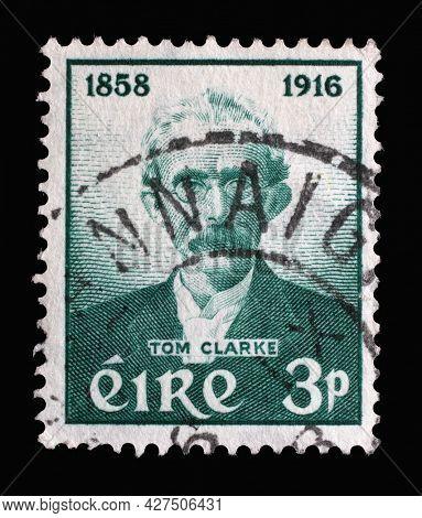 ZAGREB, CROATIA - SEPTEMBER 04, 2014: A stamp printed in Ireland shows Tom Clarke 1858-1916, Birth Centenary of Thomas J. Clarke, circa 1958