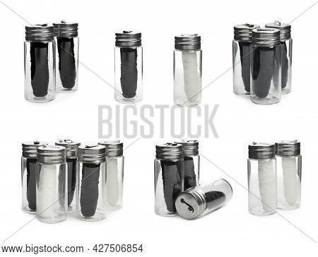 Set With Rolls Of Natural Dental Floss In Jars On White Background