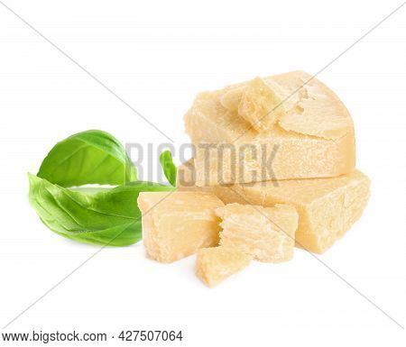 Delicious Parmesan Cheese And Basil On White Background
