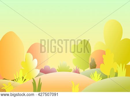 Flat Autumn Forest. Landscape With Trees. Illustration In A Simple Symbolic Style. A Funny Scene. Fo