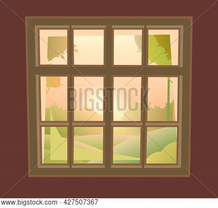 Window Is Rectangular. With Window Sill And Wall Fragments. Day. Summer Sunrise Landscape View. Cart