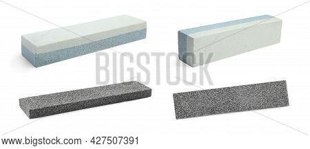 Set With Sharpening Stones For Knife On White Background. Banner Design