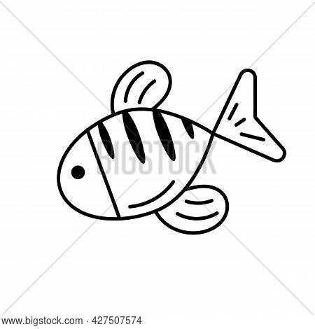 Cute Fish In Doodle Style. Logo Design Template. Cute Hand Drawn Childish Linear Illustration For Pr