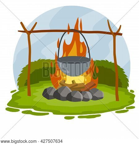 Cooking On Fire In Pot. Cauldron And Campfire. Camp Lunch. Cartoon Flat Illustration. Outdoor Grass,