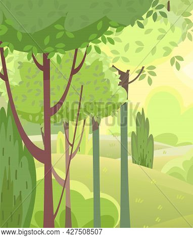 Amusing Beautiful Forest Landscape. Cartoon Style. Bushes. Grass Hills. Rural Natural Look. Cool Rom