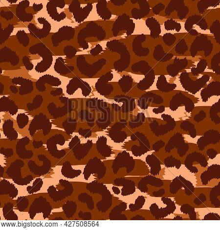 Abstract Modern Leopard Seamless Pattern. Animals Trendy Background. Brown And Black Decorative Vect