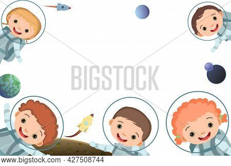 Children Are Joy. Frame. Happy Childhood. Little Boys And Girls. Kid Are Having Fun. Cute Kid. Carto