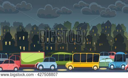 Heavy Traffic On Road. Seamless Horizontal Cartoon Illustration. Asphalt Path. Summer Landscape. Dif