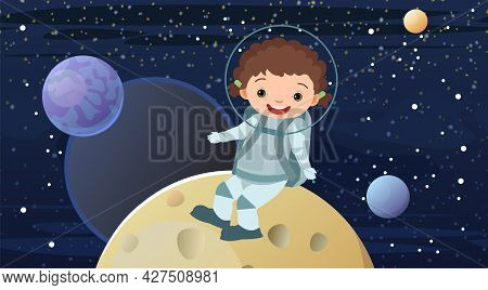 Boy Astronauts In Spacesuits. Kid. Cosmos Background. Childrens Illustration. Starry Sky Landscape.