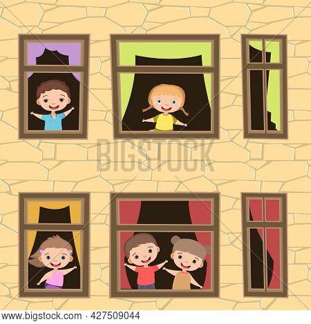 House Windows. Children Are Having Fun. Day. Cartoon Style School. Stone Walls Of A High-rise Buildi