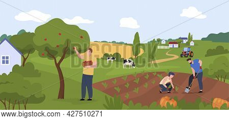 Farm Workers People At Countryside Panorama Vector Illustration Agricultural Job Or Hobby Together