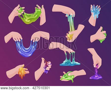 Collection Of Human Hands Holding Colorful Handmade Slimes Vector Glossy Sticky Fluid Game Toy