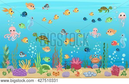 Bottom Of Reservoir With Fishes And Turtles. Blue Water. Sea Ocean. Underwater Landscape With Animal