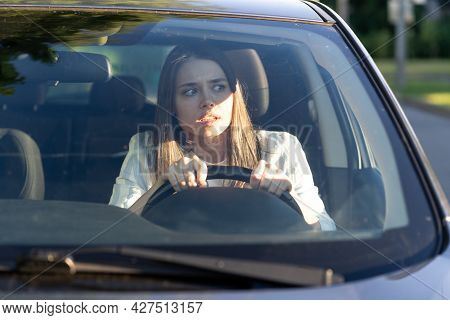 Woman Drives Her Car For The First Time, Tries To Avoid A Car Accident, Is Very Nervous And Scared,