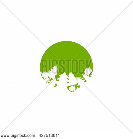 Green Forest In Circle Isolated On White. Organic Symbol. Wood And Trees Logo. Natural, Fresh, Eco L