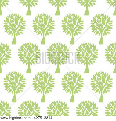 Seamless Green Floral Pattern With Trees. Repeating Green Wood Texture On A White Background. Perfec
