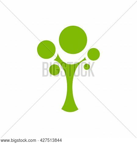 Green Flat Tree With Sharp Leaves Isolated On White. Organic Symbol. Natural, Fresh, Eco Logo. Wild