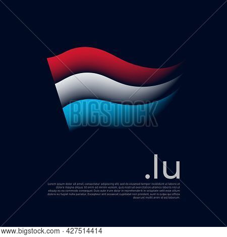 Luxembourg Flag. Stripes Colors Of The Luxembourgish Flag On A Dark Background. Vector Stylized Desi