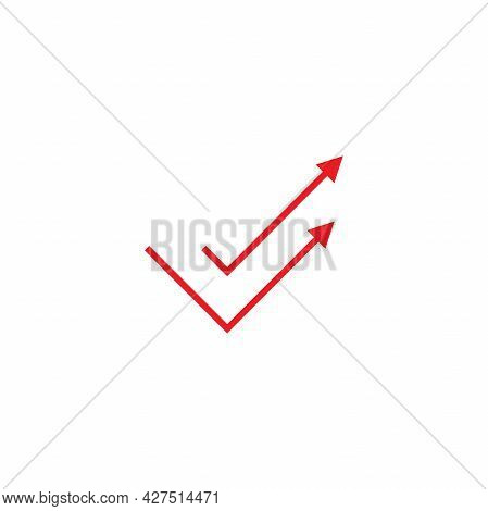 Valid Seal With Up Arrows Icon. Tick Made Of Thread Or Line. Flat Ok Sticker Icon. Accept Button. Ch