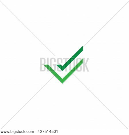 Valid Seal Icon. Green Double Squared Tick. Flat Done Sticker Icon. Isolated On White. Accept Button