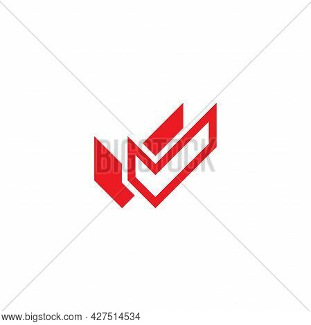Valid Seal Icon. Red Double Squared Tick. Flat Done Sticker Icon. Isolated On White. Accept Button.