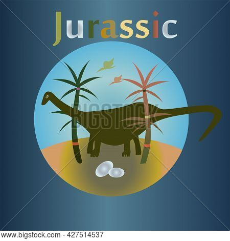 Jurassic Period In The History Of The Earth. Dinosaurs. Warm Tropical Climate.