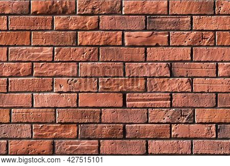 Seamless Pattern Vintage Red Brick Wall Background  Of Red Color . Old Red Stone Blocks Texture Natu
