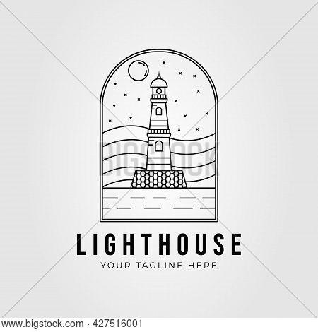 Line Art Lighthouse Beacon Logo Vector Illustration Design. Lighthouse Tower Symbol