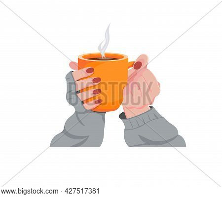 Female Hands In A Warm Gray Sweater With A Mug Of A Drink. Beautiful Girl Holding A Cup Of Tea Or Co