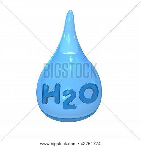 Blue Water Drop H2O